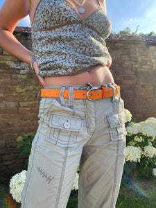 Neon Cowhide Belt - Orange