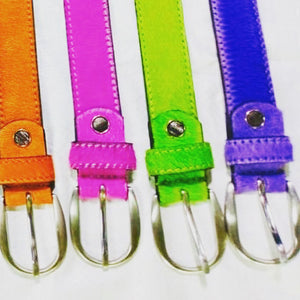 Neon Cowhide Belt - Purple