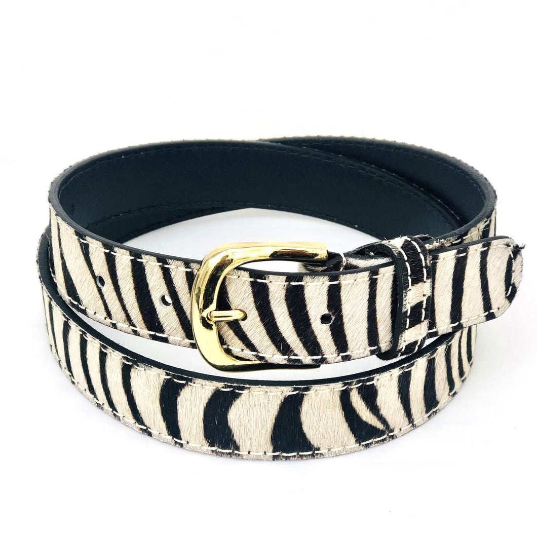 Animal Print Cowhide Belt - Zebra