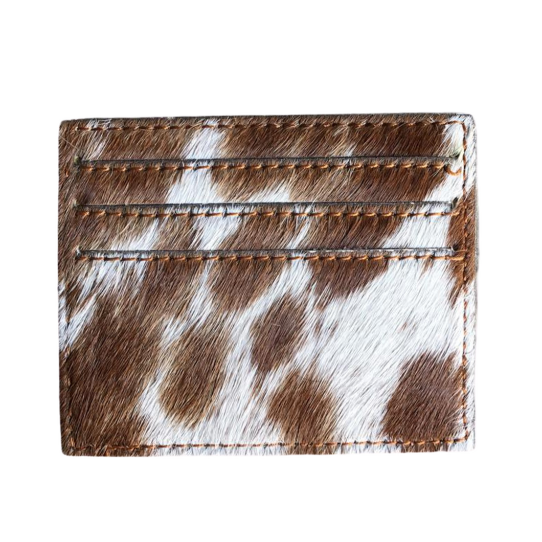 Cowhide Cardholder - Chocolate Brown/White