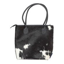 Load image into Gallery viewer, Gaucho Midi Handbag – Black/Dark Brown & White