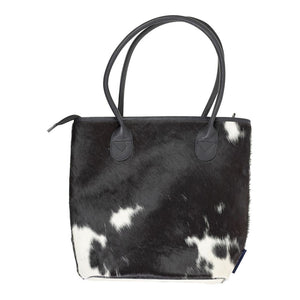 Gaucho Midi Handbag – Black/Dark Brown & White