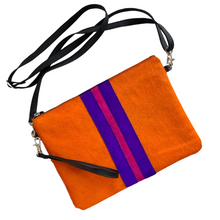 Load image into Gallery viewer, Galloway Striped Orange Clutch / Crossbody - Large
