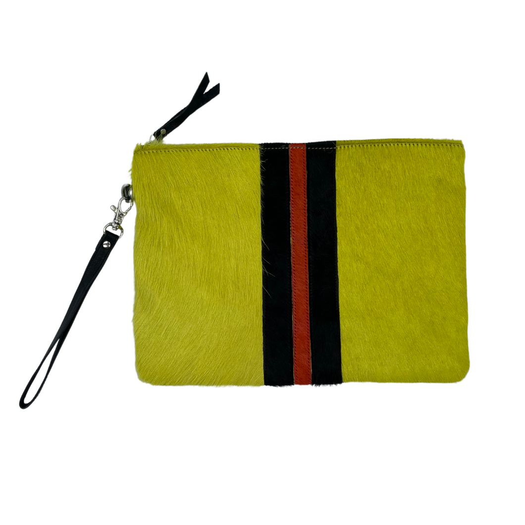Galloway Striped Yellow Clutch / Crossbody - Large