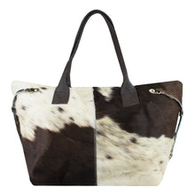 Load image into Gallery viewer, Gaucho Handbag with Detachable Clutch – Dark Brown & White