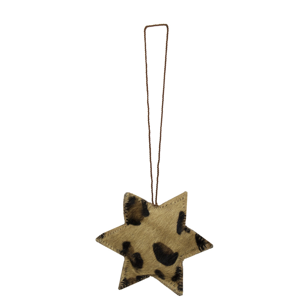 Star Cowhide Hanging Decoration - Leopard Print