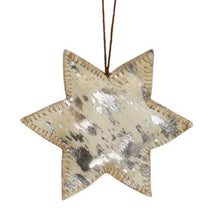 Load image into Gallery viewer, Star Cowhide Hanging Decoration - Silver Splash