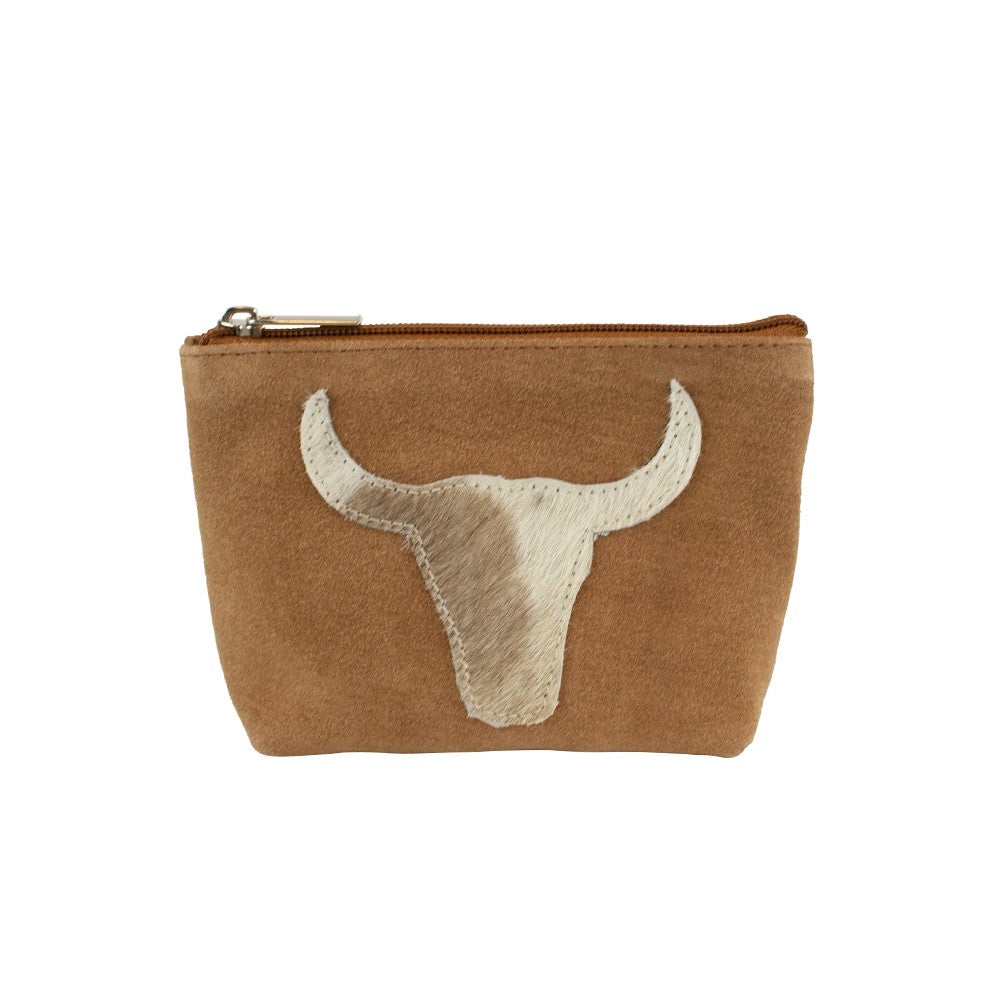 Make Up Bag/Purse with Bull Emblem – Brown