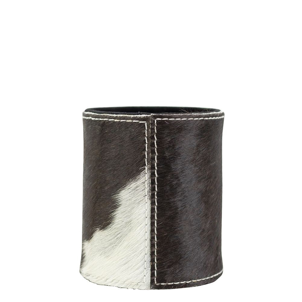 Cowhide Pencil Pot - Black/Brown/White