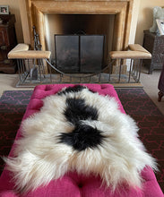 Load image into Gallery viewer, Icelandic Sheepskin Rug - Long Hair - Cream and Black Splodge
