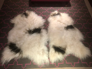 Pair of Icelandic Sheepskin Rugs - Long Hair - Cream and Triple Black Splodge