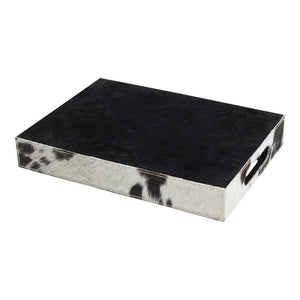Cowhide Tray - Rectangular - Black/Dark Brown/White