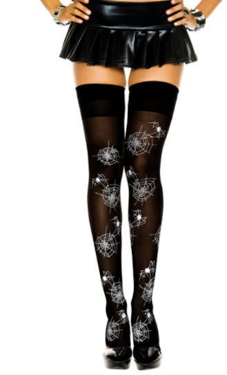 Spider & Web  Print Thigh Highs