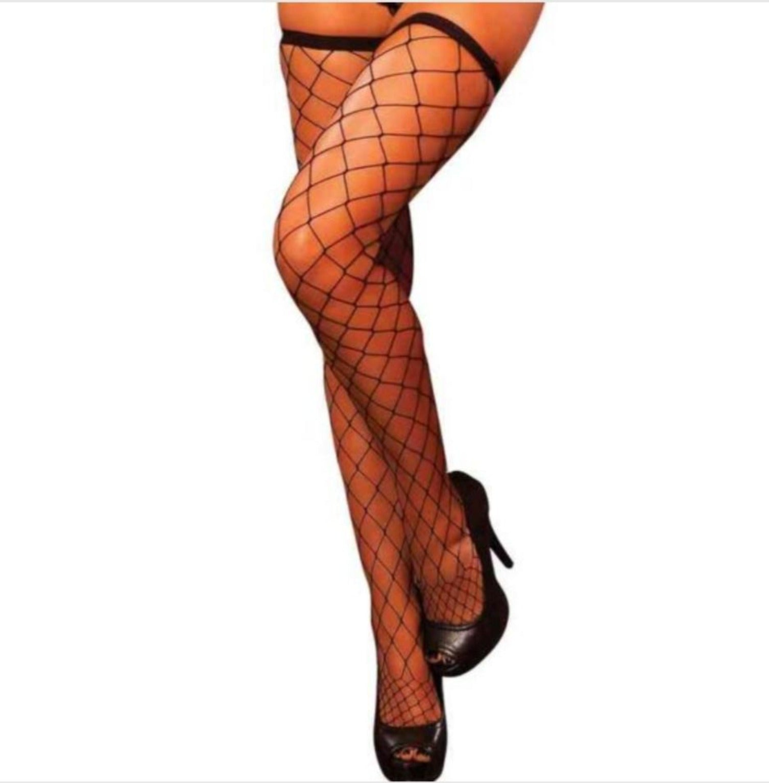 """Freak Like Me"" Diamond Net Thigh Highs"