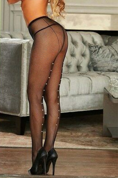 """Touch Me, Tease Me"" Bling Backseam Fishnet Tights"