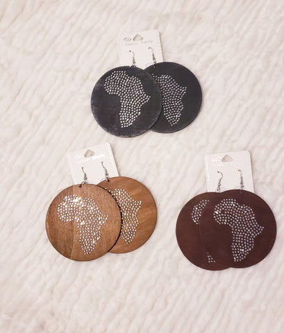 Wooden Rhinestone Map of Africa Earrings
