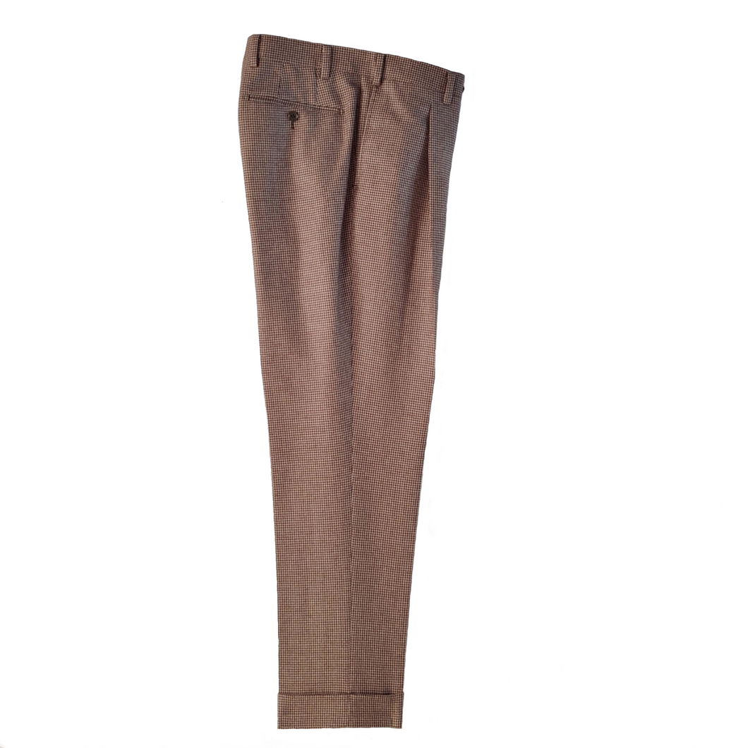 M4O Trouser - Cream/Brown Puppytooth