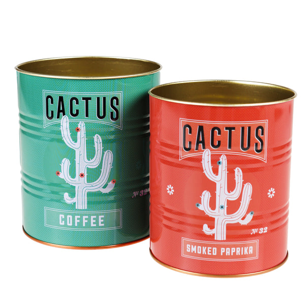 Set of two cactus design storage tins in green and red. Ideal for kitchen utensils, plants, candles and much more, these tins can be used for a variety of homeware items