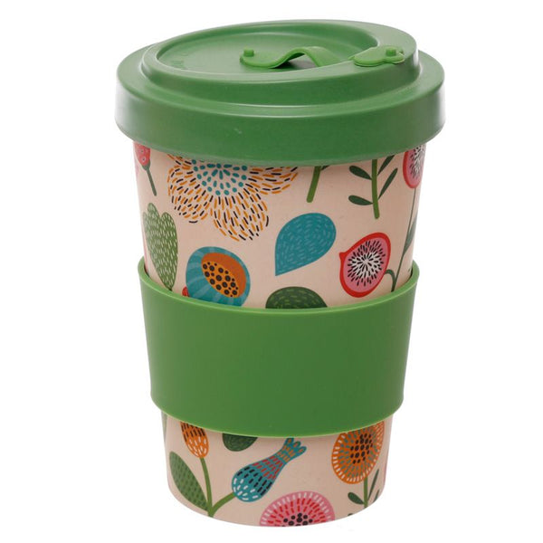 Autumn Falls Flower & Leaf Print Reusable Screw Top Bamboo Composite Travel Mug, portable coffee cup