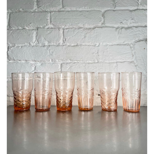 Blush Pink Water Glasses (Assorted Set of 6)