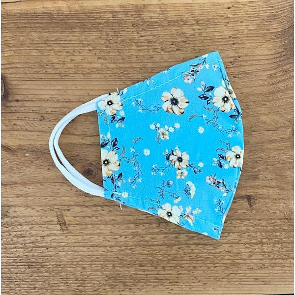 Blue Flower Reusable Face Covering