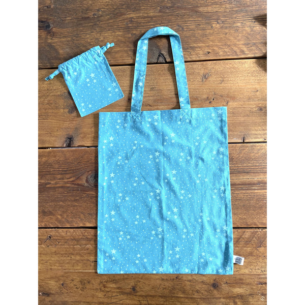 Blue Star Vintage Fabric Foldable Shopping Bag