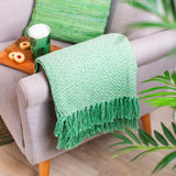 Green Herringbone Blanket Throw made from recycled yarns and materials