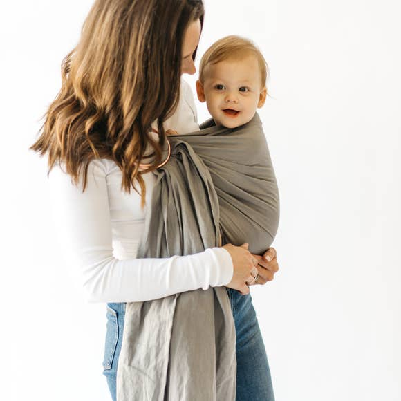 Linen Ring Sling - Birch with Rose Gold Rings