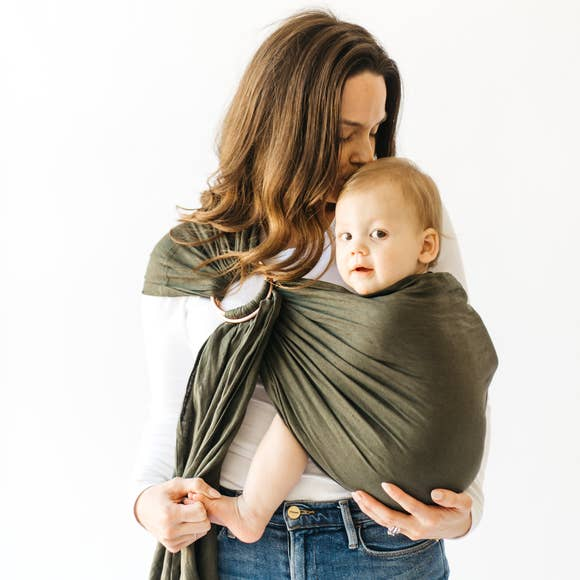 Linen Ring Sling - Evergreen with Rose Gold Rings
