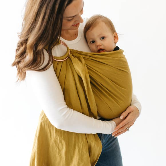 Linen Ring Sling - Banyan with Rose Gold Rings