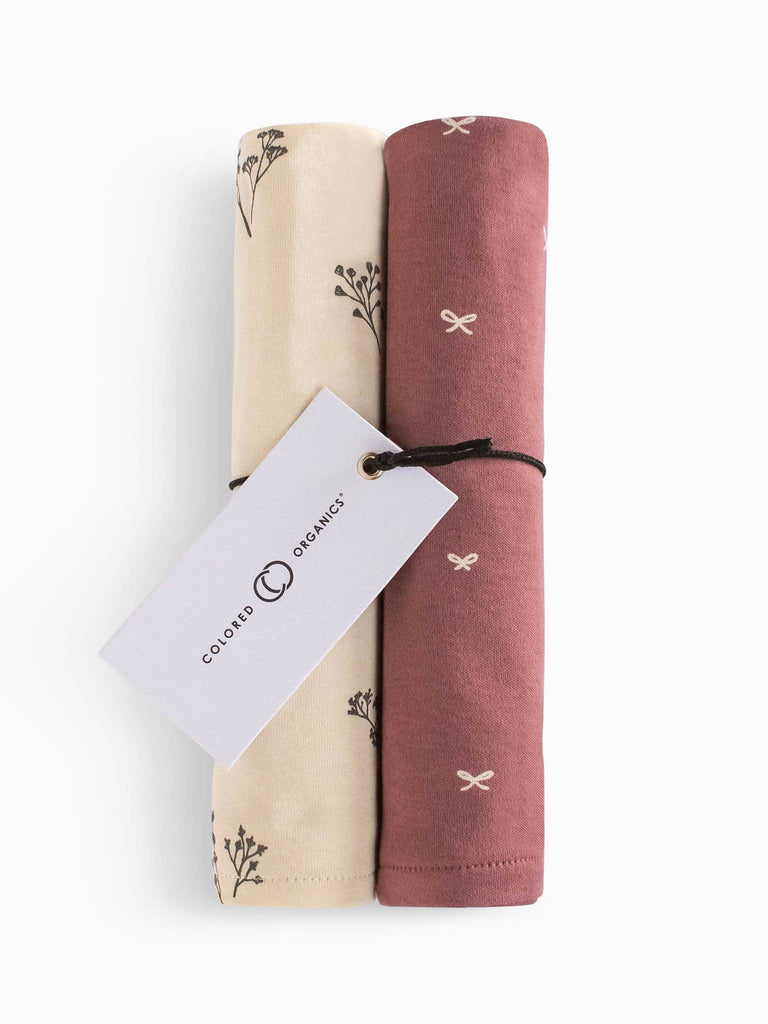 Organic Cotton Burp Cloth Set - Sprig and Bows