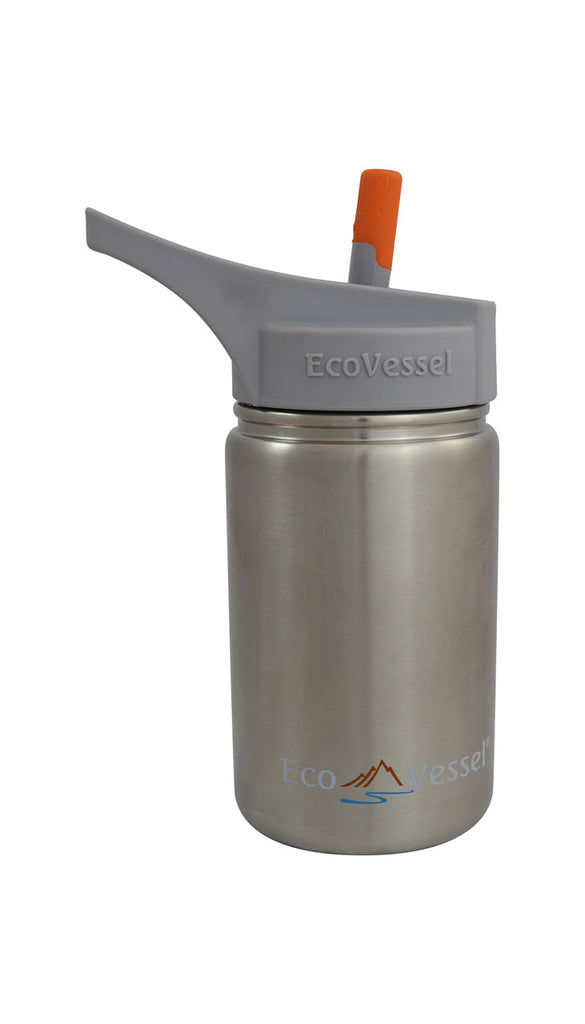 Scout Kids Stainless Steel Water Bottle With Straw - Silver