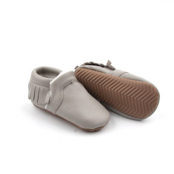 Gray Snuggly Leather Moccasin With Weather Proof Sole