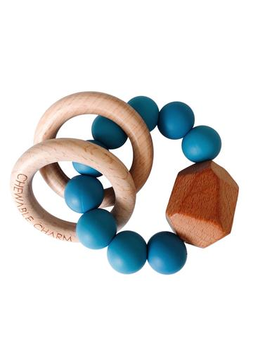 Chewable Charm - Hayes Silicone + Wood Teether Ring - Niagra Blue