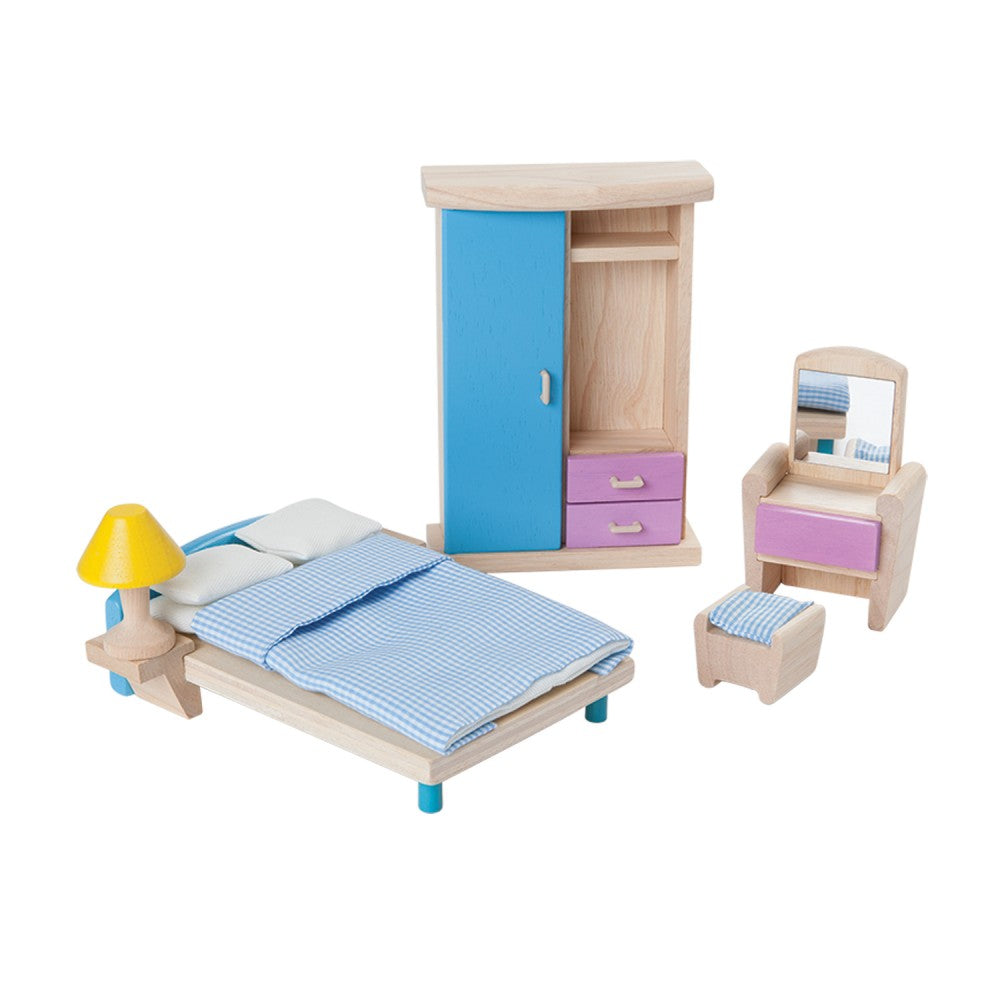 Wooden Dollhouse Bedroom Set
