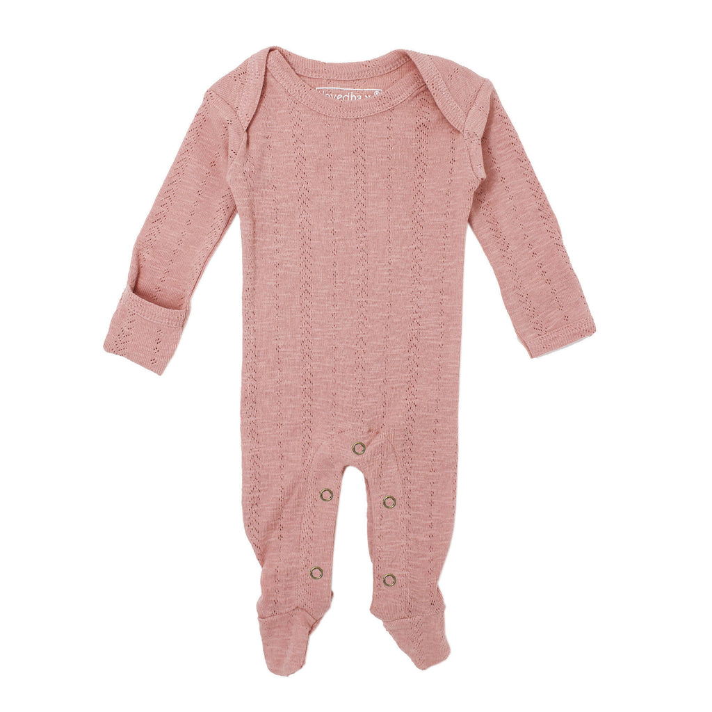 L'ovedbaby Organic Pointelle Lap-Shoulder Footie in Mauve