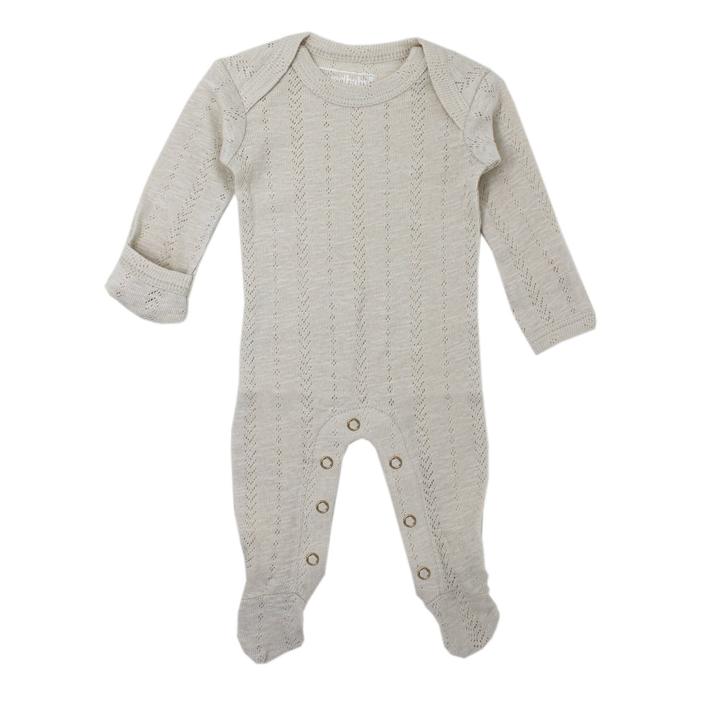 L'ovedbaby Organic Pointelle Lap-Shoulder Footie in Stone