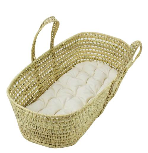 Moses Basket with Organic Cotton Futon and Fitted Sheet (Online Only)