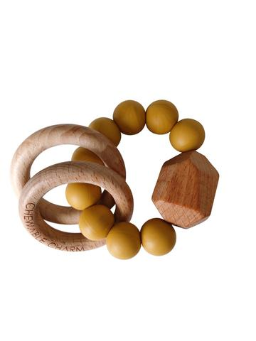 Chewable Charm - Hayes Silicone + Wood Teether Ring - Mustard Yellow