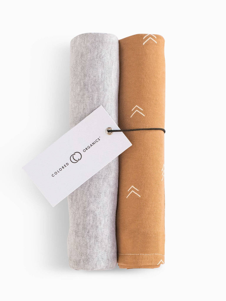 Organic Cotton Burp Cloth Set - Heather Grey and Ginger Peak