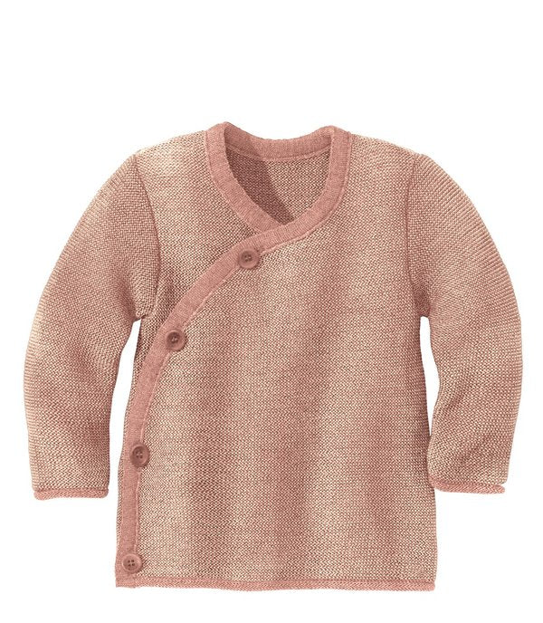 Disana Knitted Wool Jacket Sweater - Rose Natural