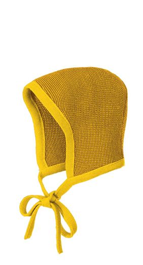 Disana Knitted Wool Bonnet - Gold