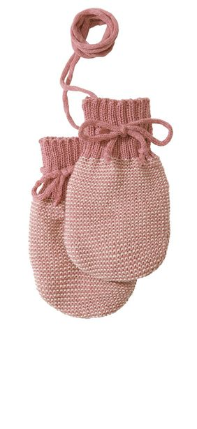 Disana Knitted Wool Mittens - Rose