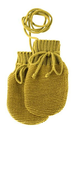Disana Knitted Wool Mittens - Gold