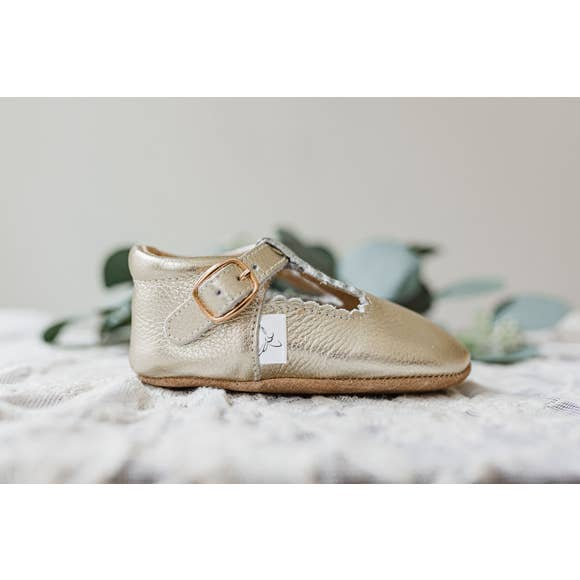 Gold T Bar Leather Moccasin