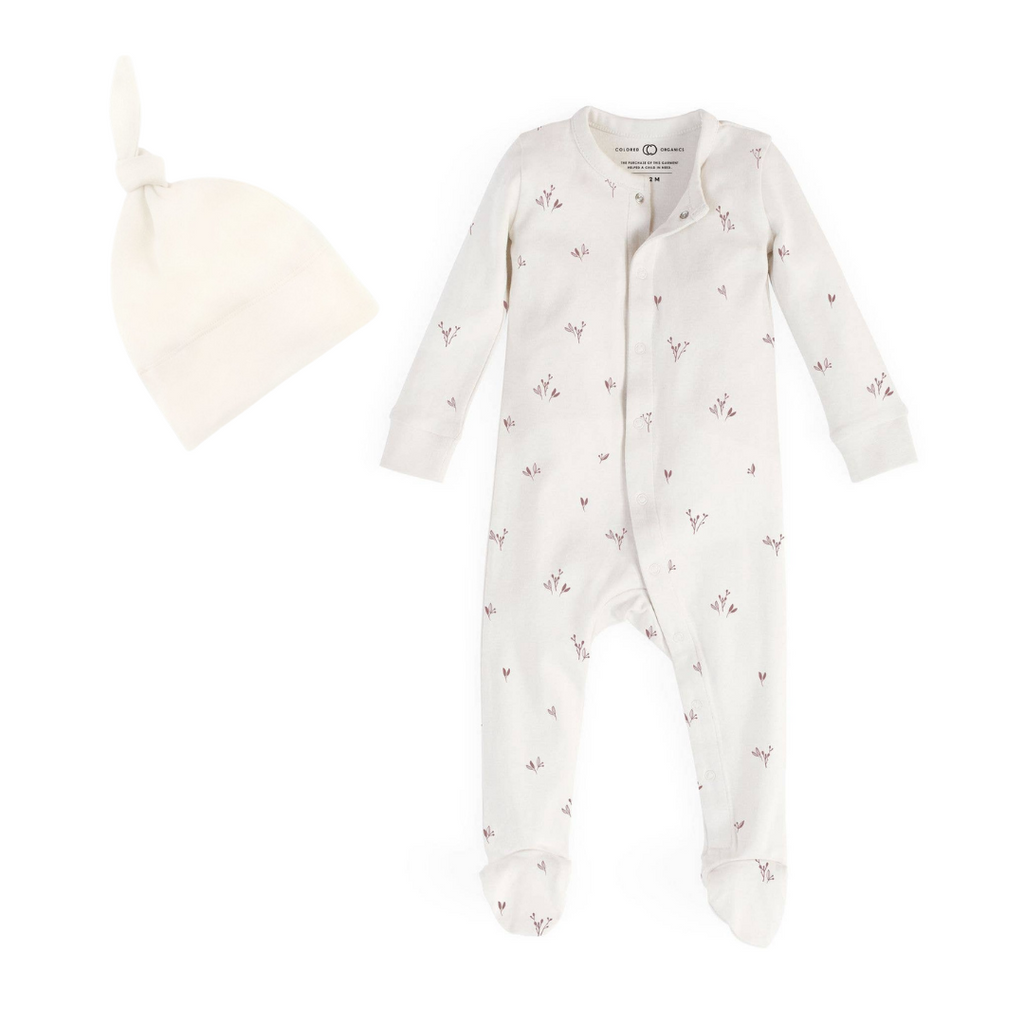 Organic Cotton Quinn Floral Footed Sleeper with Knot Hat