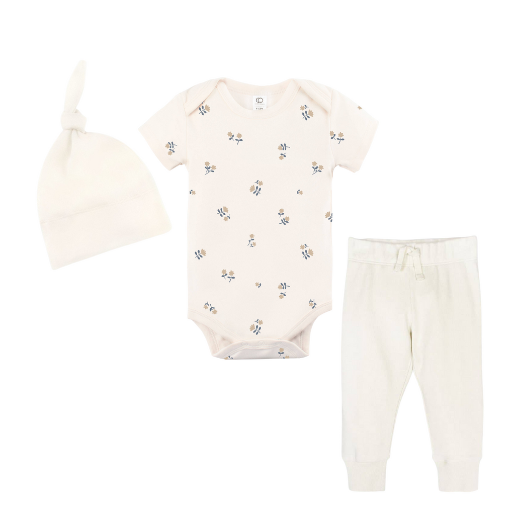 Organic Cotton Baby Coming Home Outfit - Natural Nora Floral