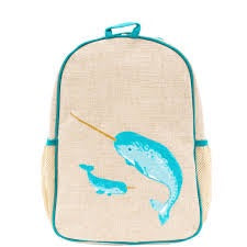 SoYoung Raw Linen Toddler Backpack- Teal Narwhal