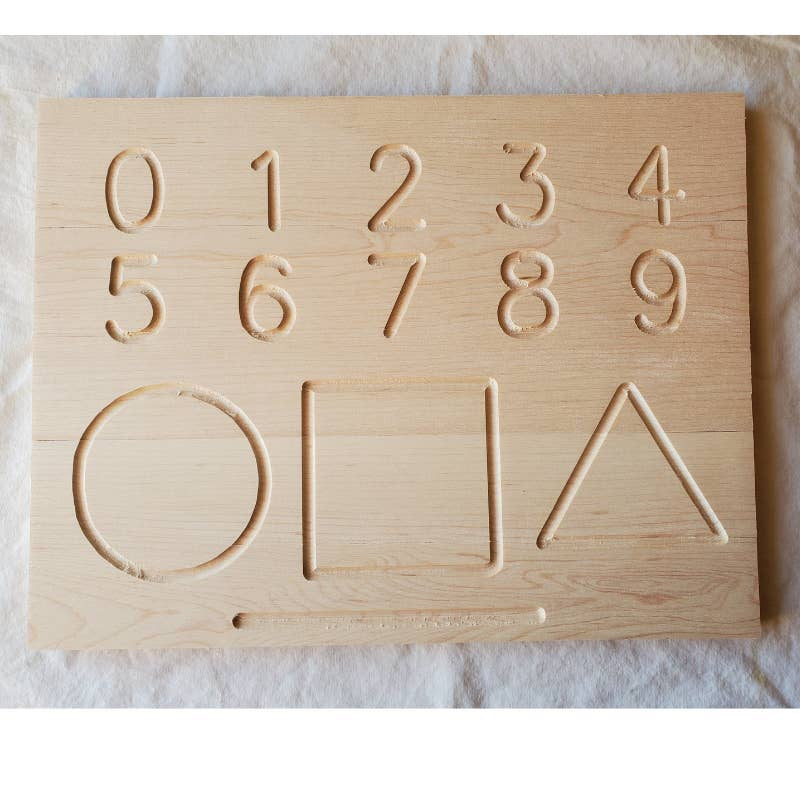 Uppercase Alphabet + Number + Shape Wooden Tracing Board