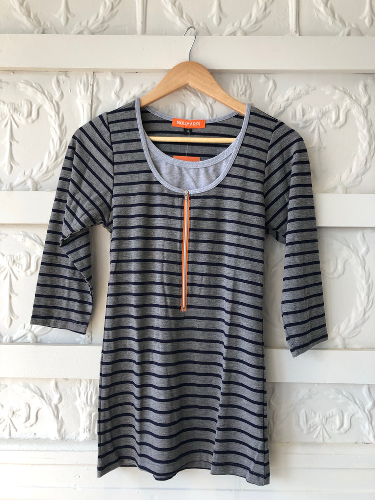 Molly Ades Maternity/Nursing Striped Top -Navy Striped